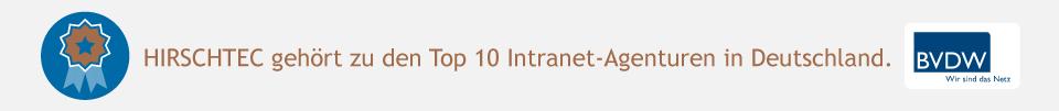HIRSCHTEC gehört zu den Top 10 Intranet-Agenturen Deutschlands