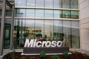 Glasfront von Microsoft Firmengebäude