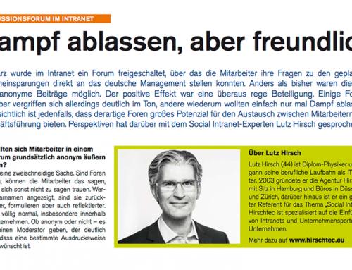 Lutz Hirsch im Interview mit Katrin Ingendahl, Mitarbeiterzeitung AREVA GmbH, Ausgabe Juli 2014