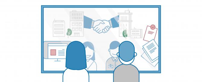 Schematische Darstellung zufriedener Mitarbeiter, die im Spiegel ihre Unternehmenskultur erkennen | HIRSCHTEC
