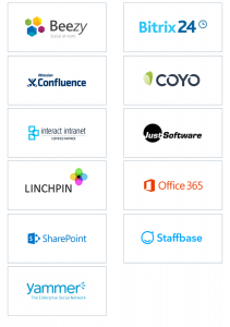 Auswahl an Logos von Herstellern von Intranetlösungen | HIRSCHTEC
