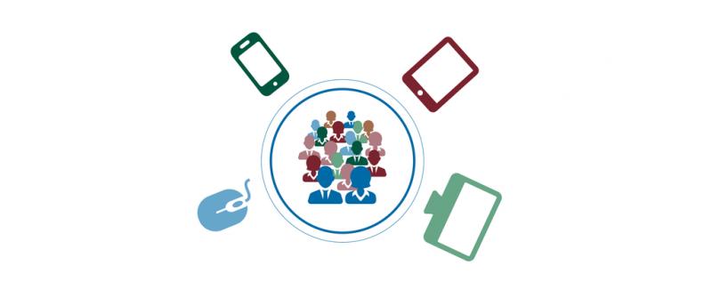 Grafische Darstellung, Nutzergruppe in der Mitte umgeben von verschiedenen digitalen Tools
