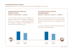 Kernergebnisse Schweiz - Einschätzung dig. Arbeitsplatz und Zusammenarbeit | HIRSCHTEC