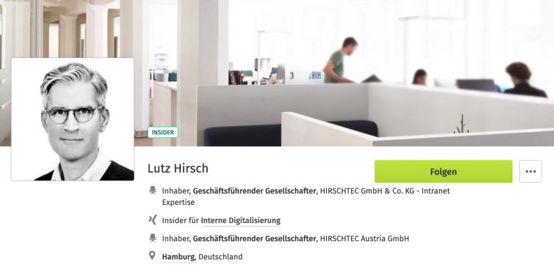 XING Insider - Lutz Hirsch | HIRSCHTEC