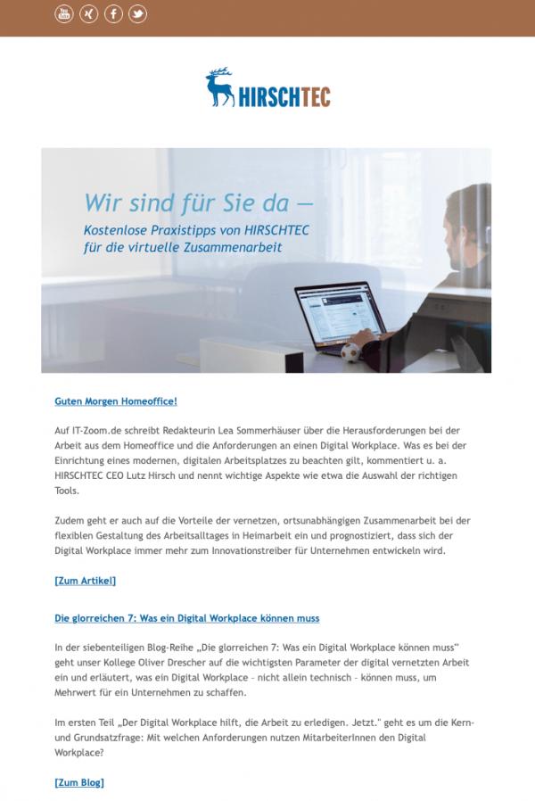 Newsletter-Vorschau | HIRSCHTEC