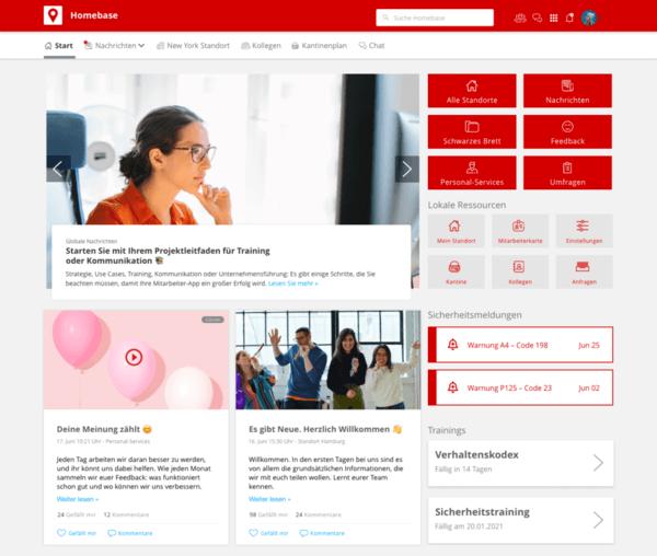 Staffbase - Beispiel Desktop Startseite (© Staffbase)