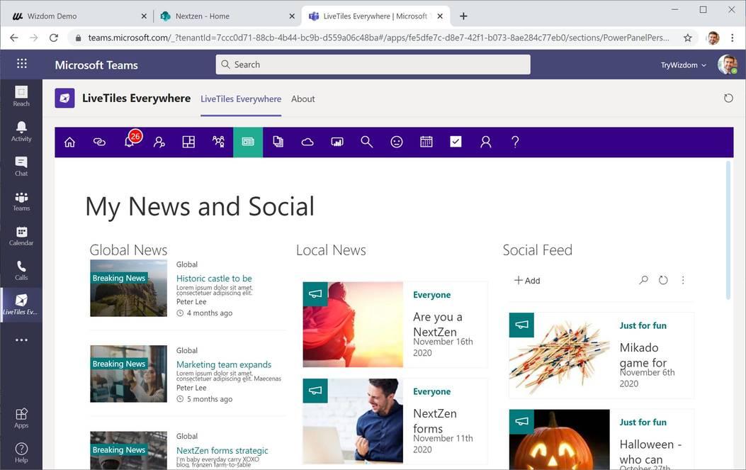 LiveTiles - LiveTiles Intranet Hub News & Social (© LiveTiles)