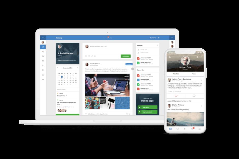 Speakap - Startseite in Desktop und mobiler Ansicht (©Speakap)