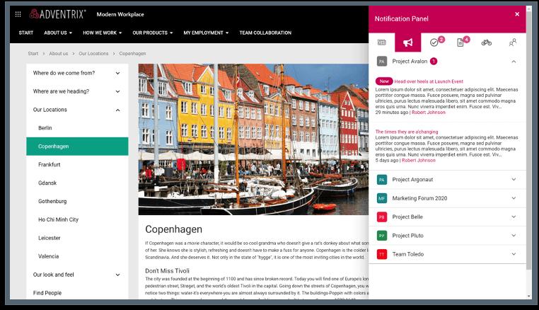 Omnia - Startseite mit Benachrichtigungen zu neuem und geupdatetem Content (© Omnia)