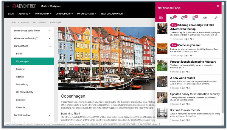 Omnia - Startseite mit News-Benachrichtigungen (© Omnia)