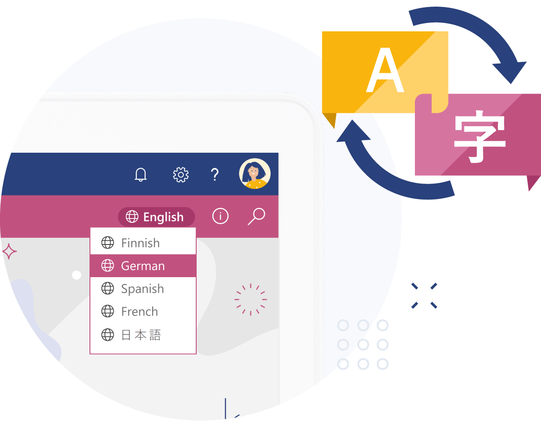 Valo Intranet - Verschiedene Sprachen auf Knopfdruck (© Valo)