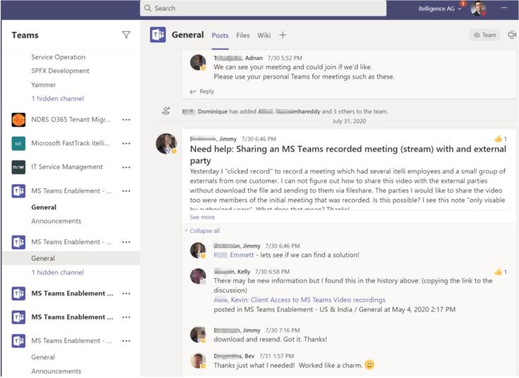Microsoft Teams - Ansicht aus Microsoft Teams itelligence (© itelligence)