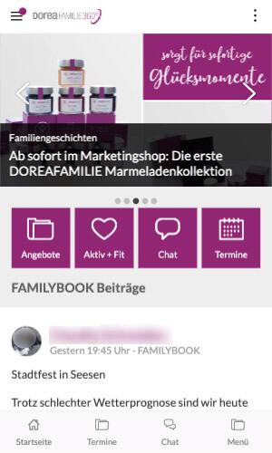 Staffbase - DOREAFAMILIE Startseite mobile Ansicht (© DOREAFAMILIE)