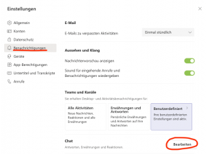 Screenshot zeigt das Menü für benutzerdefinierte Einstellungen für Chat-Benachrichtigen in Microsoft Teams