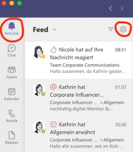 Screenshot zeigt den Aktivitäten-Feed in Microsoft Teams
