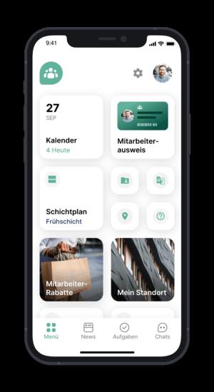 Flip App - Ansicht der Mitarbeiterseite mit Schichtplan, HR- und Standort-Informationen (@ Flip App)