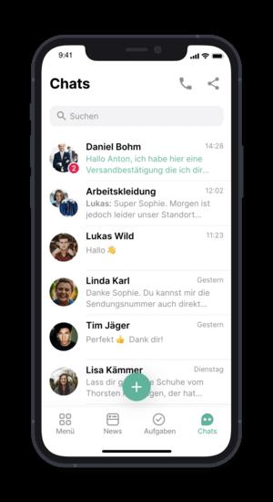 Flip App - Ansicht der Chat-Übersicht (@ Flip App)