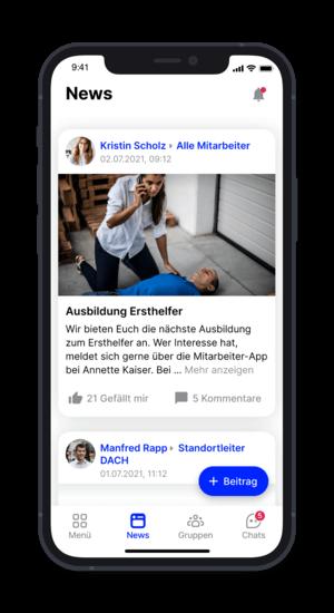 """Flip App - Newsansicht mit Kommentaren und """"Gefällt mir"""" (@ Flip App)"""
