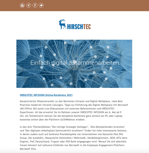 Newsletteransicht | HIRSCHTEC